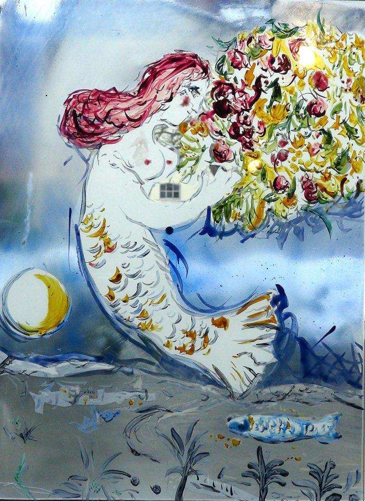 Antje-Otto-Glaskunst Keitum Sylt Glasmalerei Meerjungfrau