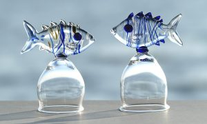 Antje-Otto-Glaskunst Schnapsglaeser-Fische