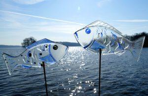 Glasfische blau Glaskunst Antje Otto Keitum Sylt