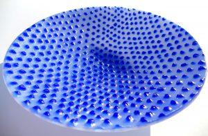 Glasschale Blau sandgestrahlt Glaskunst Antje Otto Keitum Sylt