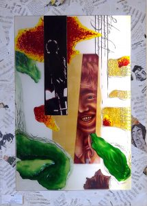 Antje Otto Glaskunst Glascollage John Lennon