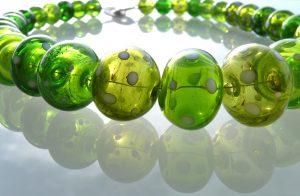 Glasschmuck Glaskette Grün mundgeblasen Glaskunst Antje Otto Keitum Sylt