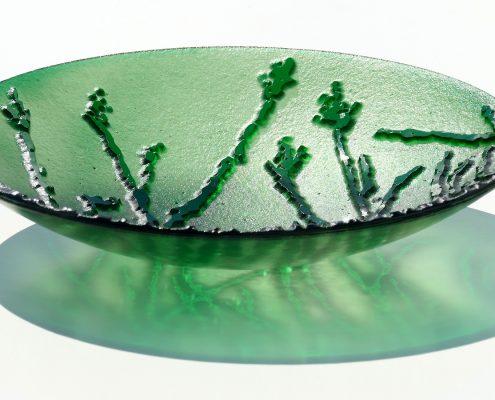 Antje Otto Glaskunst Glasschale Relief Grün