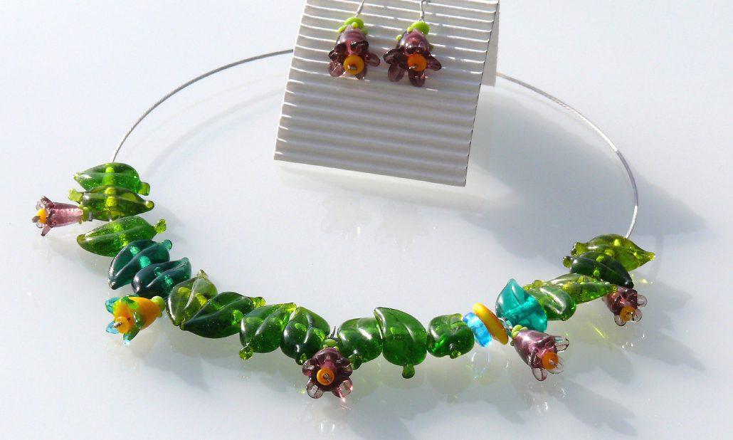Antje-Otto-Glaskunst Keitum Sylt Glaskette-mit-Ohrringen