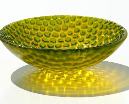 Antje Otto Glaskunst Glasreliefschale Gelb