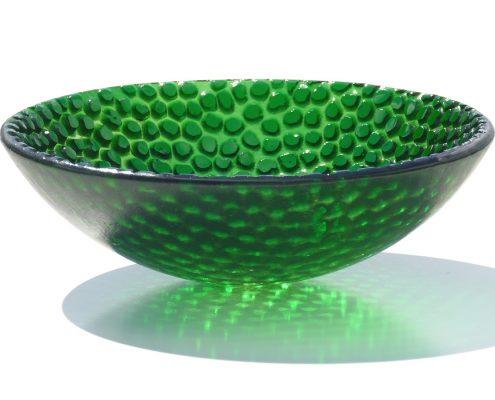 Antje Otto Glaskunst Glasreliefschale Grün