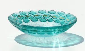 Antje Otto Glaskunst Glasschale Relief Grün Fische