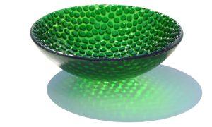 Antje-Otto-Glaskunst-Keitum Reliefglasschale Grün